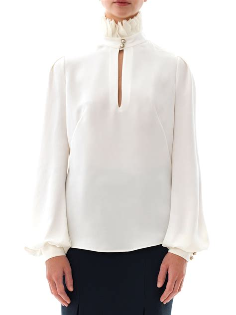 high neck blouse mcqueen pleated high neck blouse in white lyst