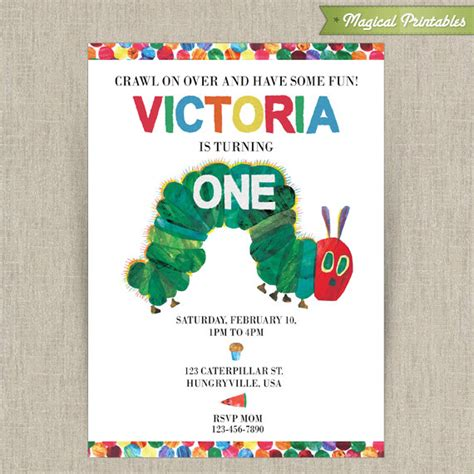 hungry caterpillar printable birthday invitation