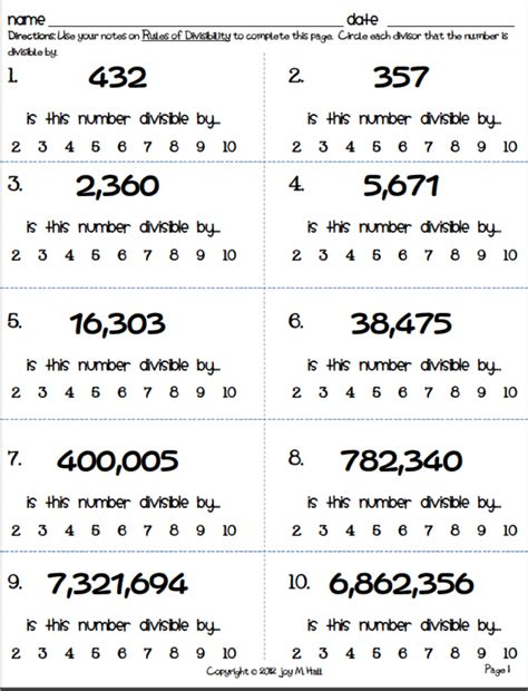 divisibility worksheet 4th grade worksheets for all