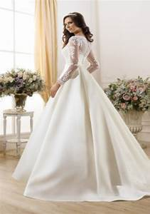 new arrival ball gown long sleeve wedding dresses sweep With long sleeve lace top wedding dress