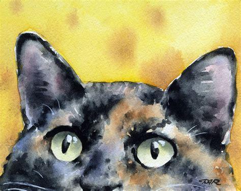 Tortie Cat Art Print Tortoiseshell Watercolor Signed By Artist