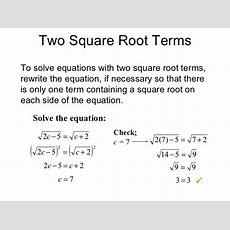 Solve Square Root Equations Tessshebaylo