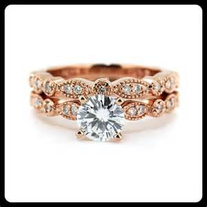 Vintage Rose Gold Wedding Set