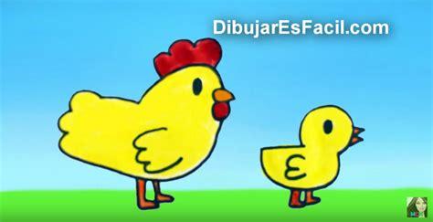 Cómo dibujar una gallina y un pollito paso a paso para