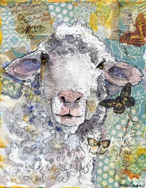sheep art painting farm art nursery room art mixed