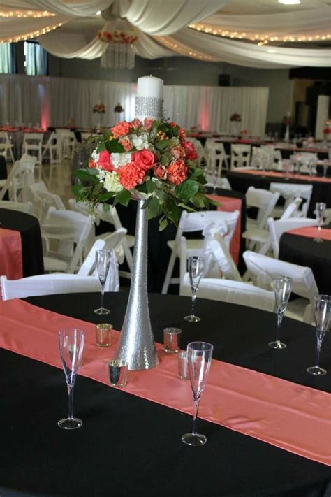 Tall coral centerpiece Coral centerpieces Wedding