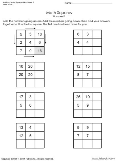 worksheets addition math magic squares them and