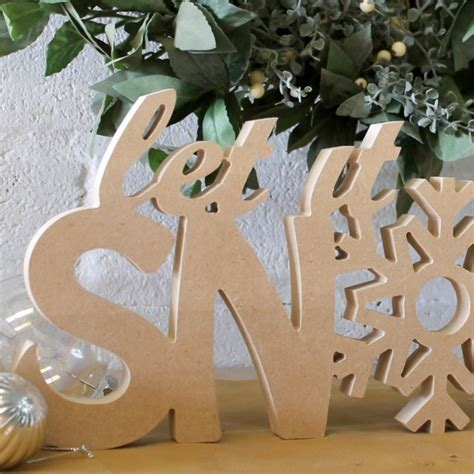 snow unpainted wooden christmas letters