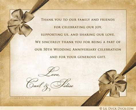 Vintage 50th Anniversary Thank You Cards Custom Party