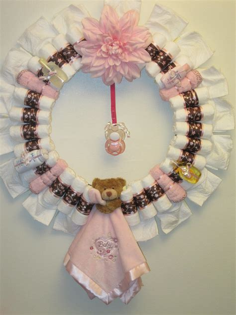sweet pea diaper wreath decorated    pampers