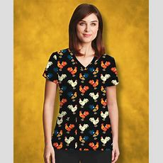 Chickens All Over This Scrub Top