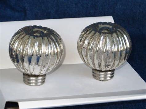 2 pottery barn finials mercury glass silver curtain