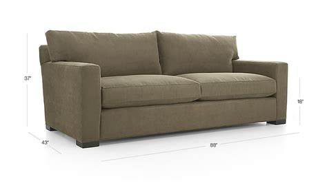 crate and barrel axis sofa dimensions axis ii 2 seater brown microfiber sofa crate and barrel