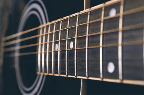 black acoustic guitar macro photography hd wallpaper