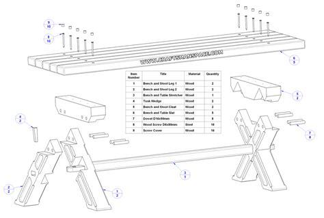 backyard table  bench set plan