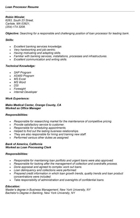 Resume Template For Mortgage Loan Processor by Sle Of Loan Processor Resume For Application