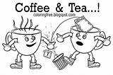 Coloring Tea Coffee Printable Drink Chocolate Drawing Colouring Colour Morning Cups Breakfast Popular Competition Battle Having sketch template
