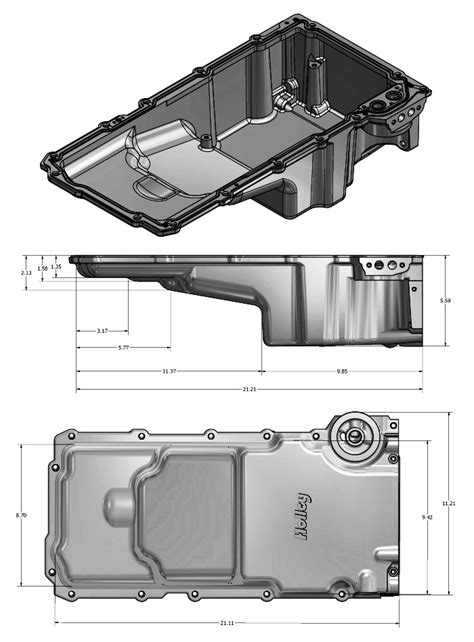 holley   front clearance ls retro fit oil pan dimensions
