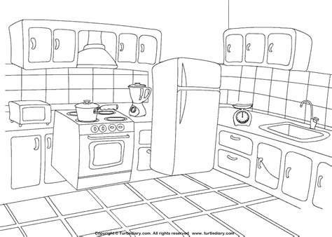 kitchen coloring sheet turtle diary