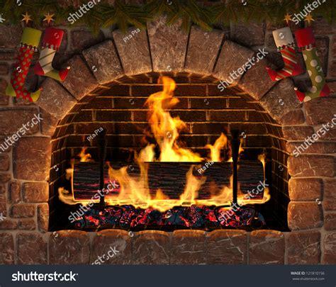christmas fireplace burning yule log hearth stock