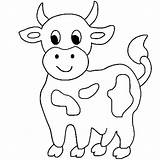 Cow Coloring Cute Little Print sketch template