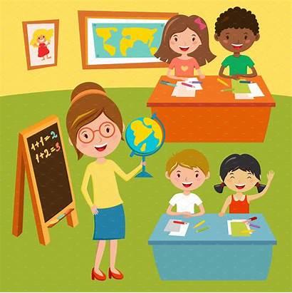 Lessons Children Geography Illustrations Classroom Cartoon Illustration