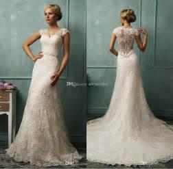white lace wedding dress 2014 vintage wedding dresses mermaid lace wedding dress white v neck capped sleeve