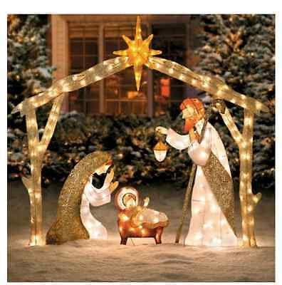 Outdoor Lighted Nativity by Large Outdoor Nativity Yard Nativity Set