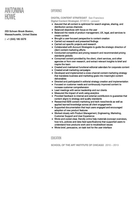 digital content strategist resume sle velvet