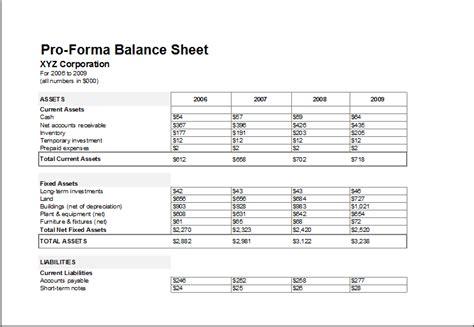 proforma balance sheet template  excel excel templates