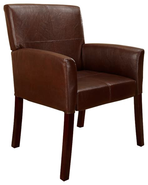 faux leather accent chair brown with cherry finish wood