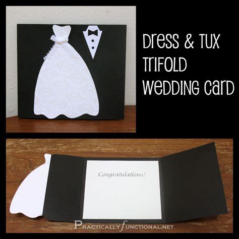 diy wedding card dress tux trifold printable
