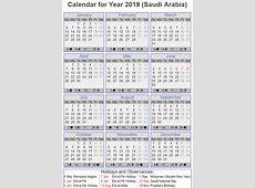 Free Printable Saudi Arabia Calendar 2019 Templates