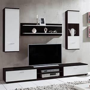 Porte Tv Mural : ensemble meuble tv noir et blanc juno ~ Teatrodelosmanantiales.com Idées de Décoration
