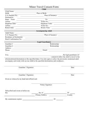 printable minor consent travel form  legal
