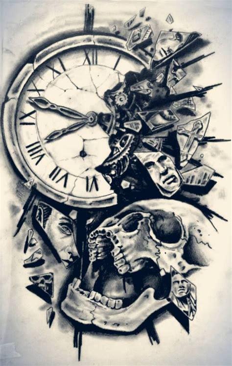broken clock  skull tattoo design