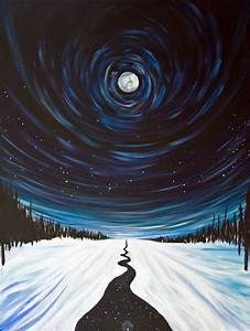 Snow, Moon and Stars, Surreal Landscape Painting ...