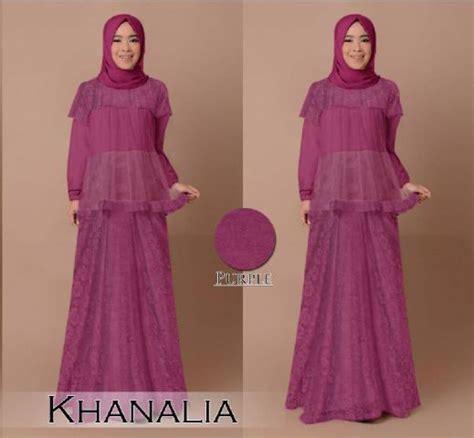 Gamis Pesta Brokat Khanalia B030  Baju Muslim Modern