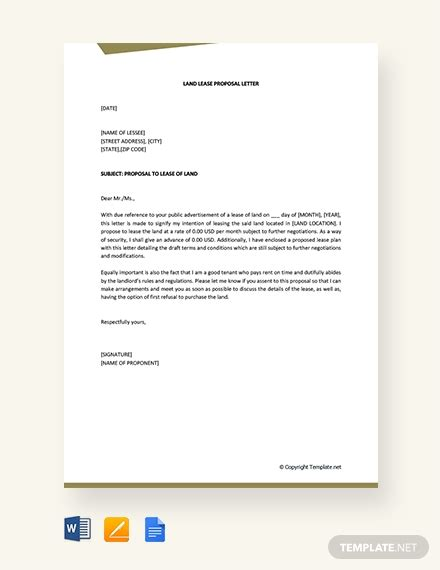 land lease proposal letter template word google