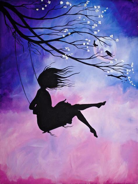 cherry blossom swing  girl acrylic painting   art