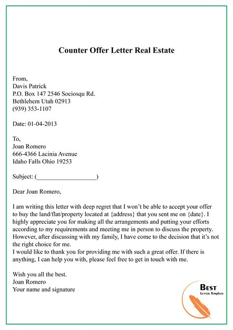 counter offer letter templatescoverletterscom