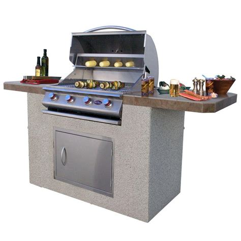 cal flame outdoor kitchen stainless cal flame 7 ft stucco and tile bbq island with 4 burner