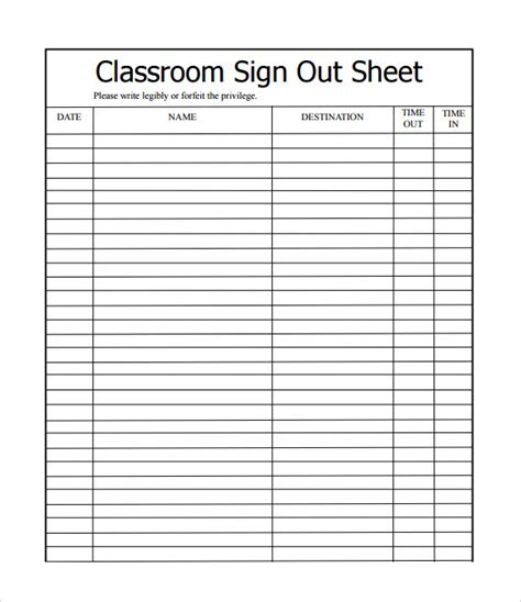 sample school sign  sheet   documents