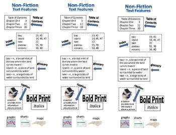 fiction text features bookmark study guide