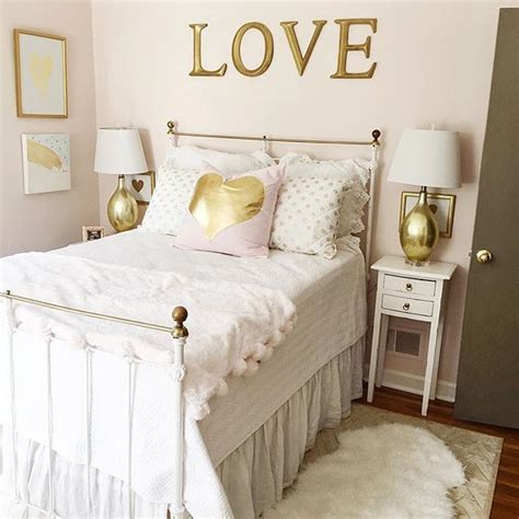 love  gold  white themed bedroom designed