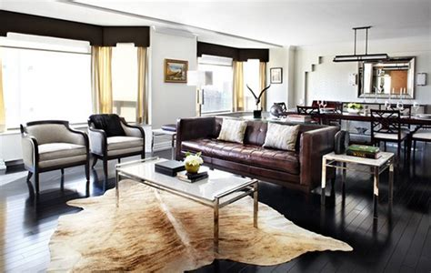 living rooms adorned  cowhide rugs home design lover