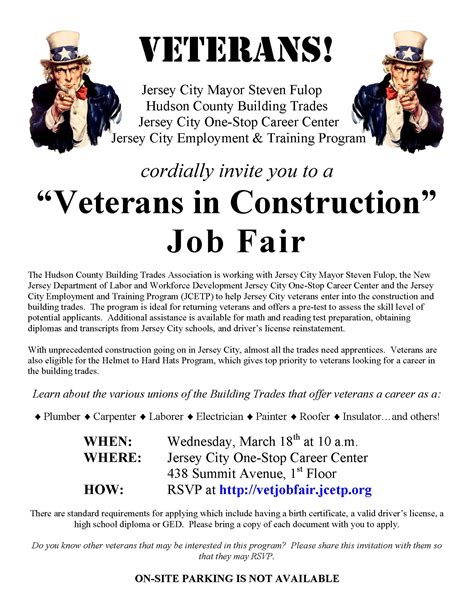 """veterans In Construction"" Job Fair  Jersey City"