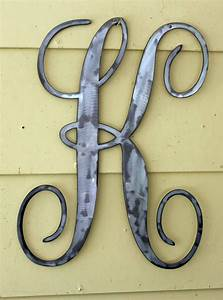 22 inch polished script metal letter k door or wall hanging With pre cut metal letters