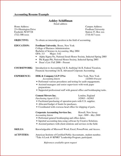 Accounting Resume Objective by Leer En L 237 Nea Exle Of Objective For Resume
