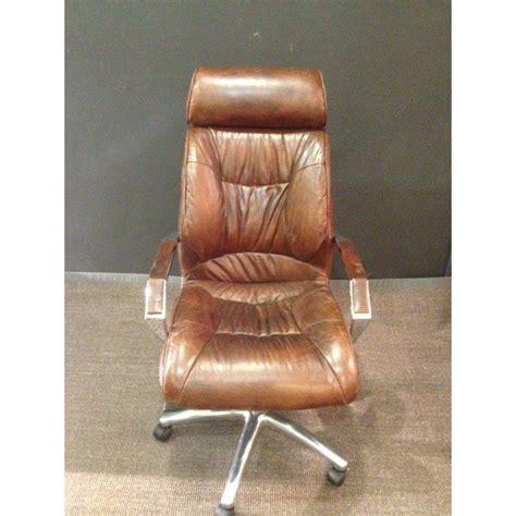 fauteuil de bureau vintage chaise de bureau vintage en cuir marron achat vente